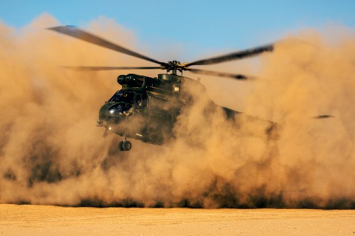 A 33 Squadron Puma HC Mk2 Helicopter performing dust landings during Exercise Jebel Sahara in Morocco.  The Puma HC Mk1 reached its Out of Service date with the Royal Air Force in December 2012. After a life extension programme to deliver a significantly upgraded aircraft, the Puma HC Mk2 took to the skies with an RAF crew in September 2013.  The Puma HC Mk2 boasts two new powerful engines, which will provide a major increase in performance, especially in hot and high conditions, an additional internal fuel tank that increases its range and endurance, and a glass cockpit with four-axis autopilot, secure communications and other avionics enhancements.  Photo by Cpl Connor Payne, RAF. UK MoD/Crown copyright, 29 October 2015. Source: https://goo.gl/1MvtFc