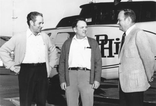 Gene O. Wallace, HAA Pilot-of-the- Year; Louis W. Byrn, HAA Maintenance-Man-of-the-Year; and Frank W. Lee, named HAA first vice president and a director. Byrn is PHI's vice president-Maintenance.  From Vertiflite, January/February 1974 (page 16).