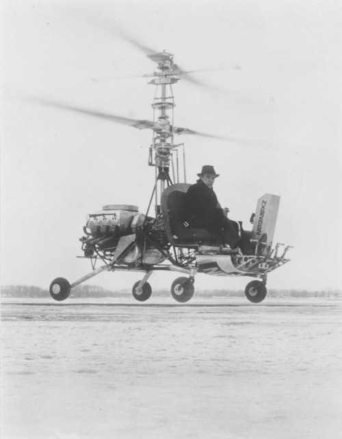 Arthur Young at the controls of the Bell Coaxial Helicopter, winter 1945-1946. Young built the machine to experiment with coaxial configurations, with flapping rotors in close proximity with each other. From Vertiflite, March/April 1974 (page 20).