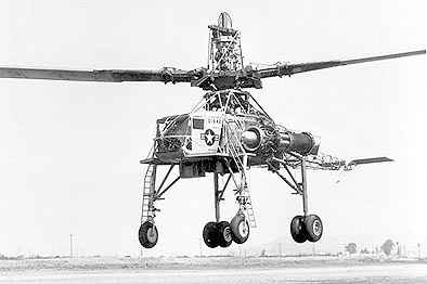 "Hughes XH-17 ""Flying Crane"" pressure jet helicopter. At 130 feet, the main rotor of the XH-17 was the largest ever flown. More information is available at https://vertipedia.vtol.org/milestones.cfm?milestoneID=29. From Vertiflite, Fall 2004 (page 53)."