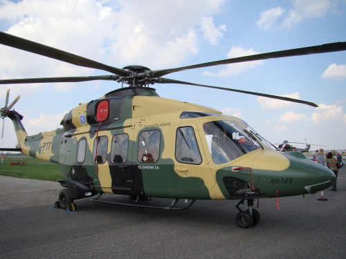 "The AW149 is a militarized growth version of the civil AW139. Although it has not yet found a customer, the civil derivative, the AW189, has been a commercial success.  Vertiflite, January/February 2016 (page 15).  Photo by ""MAx 92"" — Licensed under CC BY-SA 3.0 via Commons"