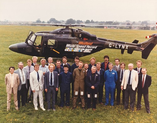 The photo was taken at Westland Helicopters Airfield, Yeovil, UK just after attaining the World Speed record for helicopters on August 11, 1986. Original image taken by Westland Helicopters Ltd.)  Image donated to AHS International (Image provided under Creative CommonsAttribution-ShareAlike 4.0 International/CC BY-SA 4.0 license)