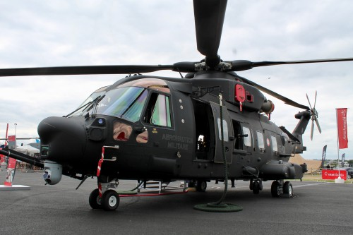 "Image from Farnborough International Airshow on July 14-20, 2014. The aircraft is now designated the HH-101A ""Caesar"".  Image by Ian Frain for AHS International (no modification to original image) (image provided under Creative CommonsAttribution-ShareAlike 4.0 International/CC BY-SA 4.0 license)"