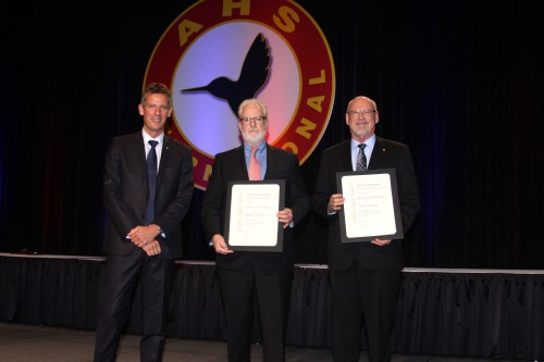 AHS Chair Jean-Brice Dumont recognized the newest AHS Honorary Fellows, Mark Miller (Sikorsky) and Prof. Dave Peters (Washington Univ.) at Forum 73, May 10, 2017 (AHS photo by Mark Upchurch)