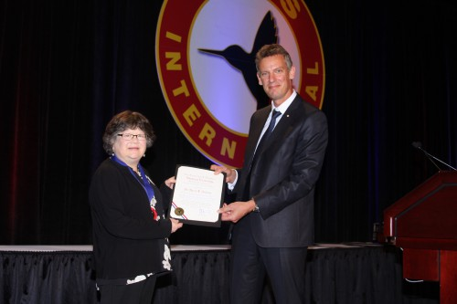 NASA Langley's Dr. Karen Jackson receives the prestigious Alexander A. Nikolsky Honorary Lectureship Award from Jean-Brice Dumont, AHS Chair of the Board at Forum 73, May 10, 2017. (AHS photo by Mark Upchurch)