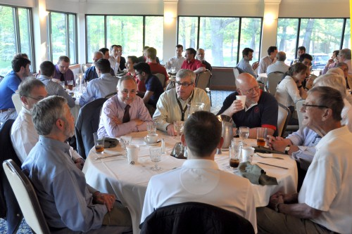 Stratford chapter members enjoys dinner at the Oronoque Country Club before briefing by Erez Eller