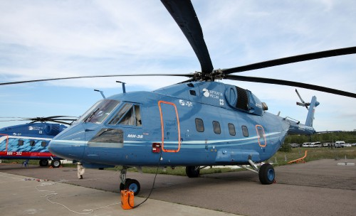 The Russian Mi-38 medium multipurpose helicopter on display at the MAKS-2011.  The series is produced by Mil Moscow Helicopter Plant, Kazan Helicopters and Eurocopter. Prototype OP-2 uses the PW&C engines.  Taken 19 August, 2011 and released to the Public Domain.