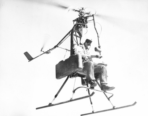 "Powered by hydrogen peroxide tip-jet rockets, the Aerospace General Corporation ""Mini-Copter"" was designed to eliminate the need for about 70% of the mechanical, electrical, and structural components of conventional rotary-wing aircraft. From Vertiflite, January/February 1975 (page 16)."