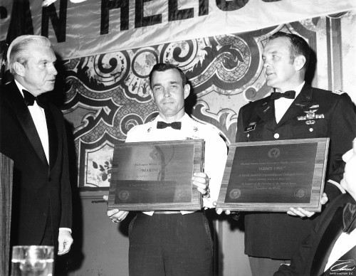 The two Lt.Col.s were presented awards at the Honors Night Dinner.  From Vertiflite, July/August 1975.
