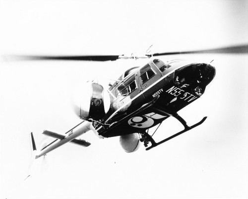 "Bell 206B Jet Ranger II ""Telecopter"" operated by Los Angeles TV broadcaster KTLA. The remote controlled color TV camera, state of the art for the time, was contained in a 4.5-foot rotatable sphere. It featured a 20-power zoom lens and was gyroscopically stabilized.  From Vertiflite, January/February 1975 (page 8)."