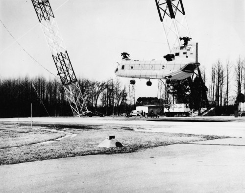 The test, on March 6 1975, was the largest troop caarying/cargo helicopter crash tested at the time.  From Vertiflite, September/October 1975, page 7.