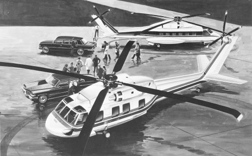 These are two versions of the proposed  S-70C. A 20-passenger model, foreground, retains the general fuselage arrangement of the UTTAS; the 29-passenger aircraft, also shown, has a larger fuselage and a tricycle landing gear.   From Vertiflite, May/June 1975.