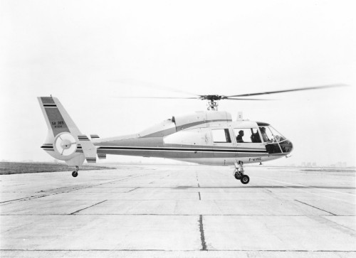 Aerospatiale Helicopter Corporation's new logo and the SA 365 Twin Dauphin that will make its U.S. debut at the Helicopter Association of America Convention in Tucson, AZ, Jan. 25-28.   From Vertiflite, November/December 1975, Page 16