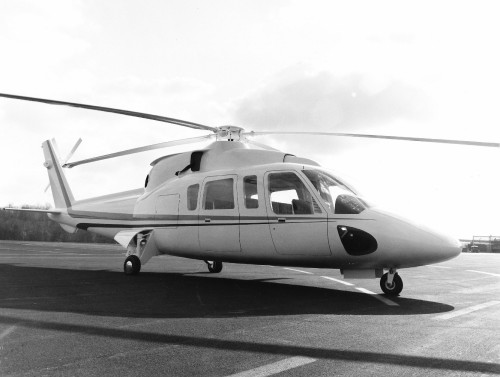 Mock-up of Sikorsky's new advanced all-weather, multi-mission, twin-engine helicopter, specifically designed for commercial use.   From Vertiflite, March/April 1975