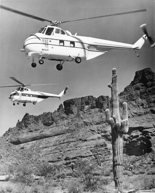 S55Ts fly over the Arizona desert. These aircraft were modified by Aviation Specialties and produced and marketed by Helitec (Mesa, AZ). The original Pratt and Whitney radial engine was replaced by the Garrett AiResearch TPE-331-3U turbine engine (840 shp derated to 650). From Vertiflite, January/February 1975 (page 15).
