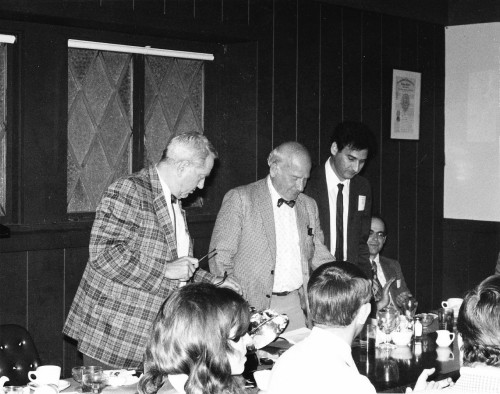 Rotary-wing pioneers Bob Wagner and John Wheatley as they were introduced to L.A.Chapter members at the Nov. 12 meeting. To Wheatley's left is Julian Wolkovitch, vice president and program director, Seated at far right is Peretz Friedmann, technical director.  From Vertiflite, January/February 1975