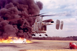 HH-43B_Huskie_during_a_firefighting_exercise_c1960s