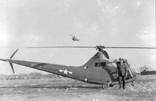First flown Friday, October 15, 1943.  Designated HOS-1 in the US Navy. Source: https://vtol.org/store/department/vertiflite-1961-879.cfm