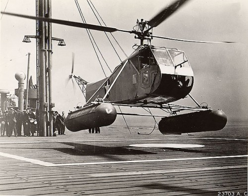 The first helicopter to enter US military service and enter series production.  Known as the HNS-1 by the US Navy.  First flown on Wednesday, January 14, 1942.