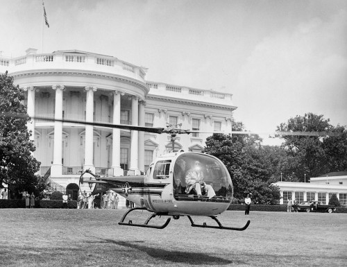 Presidential transport modified by Bell Helicopter to include all-metal rotor blades, special arm and foot rests to the right seat, and a frame-less, Plexiglas nose bubble heavily tinted to reduce glare and heat. The President's personal helicopter pilot flew the aircraft from the center seat and a Secret Service agent occupied the left seat. An identical Bell H-13J usually accompanied the President's helicopter. This aircraft carried his physician and another Secret Service agent. Photo courtesy of Roger Connor, Smithsonian Institute. Source: https://airandspace.si.edu/collection-objects/bell-h-13j