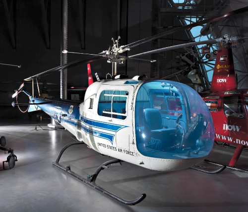 Presidential transport modified by Bell Helicopter to include all-metal rotor blades, special arm and foot rests to the right seat, and a frame-less, Plexiglas nose bubble heavily tinted to reduce glare and heat. The President's personal helicopter pilot flew the aircraft from the center seat and a Secret Service agent occupied the left seat. An identical Bell H-13J usually accompanied the President's helicopter. This aircraft carried his physician and another Secret Service agent. Source: https://airandspace.si.edu/collection-objects/bell-h-13j