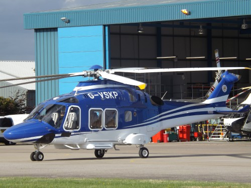 AW169 (G-VSKP) at Gloucestershire Airport - Photo from Flickr by James (no modification to original image) (image provided under the terms of Creative Commons Attribution-ShareAlike 2.0 Generic/CC BY-SA 2.0 license) Source: https://flic.kr/p/K91yZQ