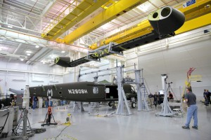 Straight-V-280-wing-being-lowered-onto-fuselage
