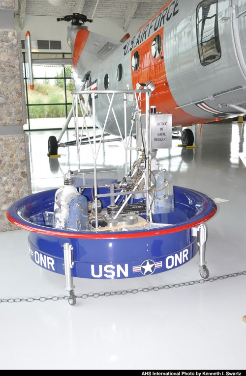 1950s Hiller Model 1031 flying platform replica flying platform at the Evergreen Aviation & Space Museum at the McMinnville Municipal Airport (KMMV), McMinnville, Oregon, Aug. 9, 2016. (Photo by Kenneth I. Swartz)
