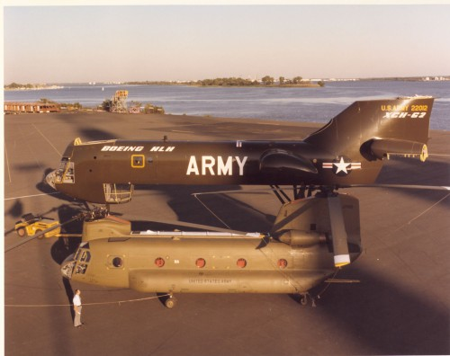 A CH-47D Chinook from the 509th Parachute Infantry Regiment, US Army, was used to move the XCH-62A to the US Army Aviation Museum at Fort Rucker, Alabama on Dec. 6, 1987. Photo via Eric Hunt, part of the lift team.