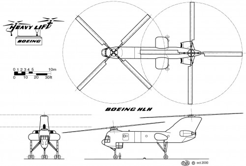 3-view layout of the planned Boeing Vertol CH-62 Heavy Lift Helicopter (HLH) for the U.S. Army. Drawing is copyright Alain Ratinaud, from Vertiflite, Spring 2002, CC-SA-BY3.0.