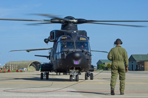 Last ground checks before takeoff. The Italian Air Force HH-101A is a special combat search and rescue (CSAR) version of Leonardo's AgustaWestland AW101. Photo by Paolo Rollino, May 19, 2017. Copyright: CC BY-SA