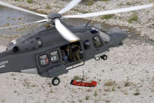 For rescue duties, the HH-139A has an external winch capable of lifting loads of up to 600 lb (270 kg) with a 260 ft (80 m) long cable. The wheel bay is also enlarged and reinforced for landings in rough surfaces. Photo by Mauro Finati and Paolo Rollino, May 19, 2017. Copyright: CC BY-SA