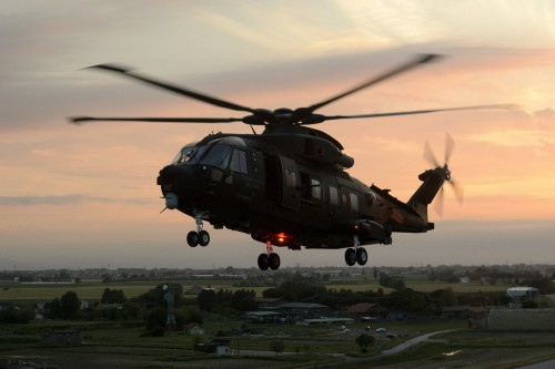 The black overall painting of the Italian HH-101A Caesar facilitates night special forces operations. Photo by Mauro Finati, May 19, 2017. Copyright: CC BY-SA