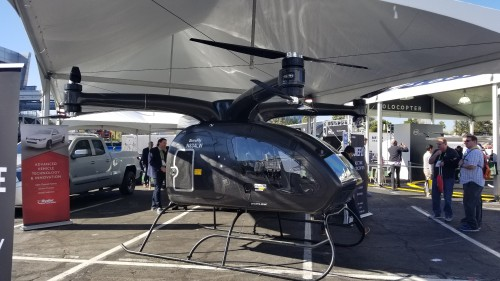 Workhorse SureFly prototype #1 side view at the CES2018 Exhibition in Las Vegas, NV, Jan. 11, 2018. AHS photo.