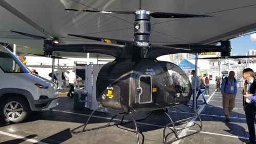 Workhorse SureFly prototype #1 rear view at the CES2018 Exhibition in Las Vegas, NV, Jan. 11, 2018. AHS photo.
