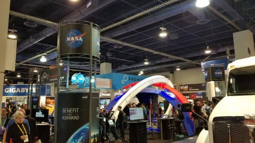 NASA Aeronautics display at the CES2018 Exhibition in Las Vegas, NV, Jan. 11, 2018. AHS photo.