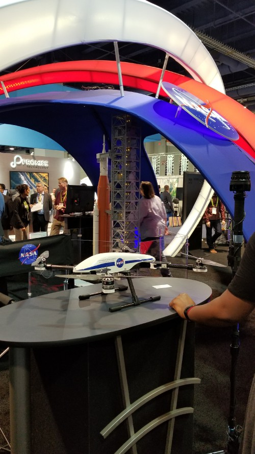 NASA Aeronautics display featuring a Straight Up Imaging VTOL quadcopter used for experimentation and computer modeling, as seen at the CES2018 Exhibition in Las Vegas, NV, Jan. 11, 2018. AHS photo.