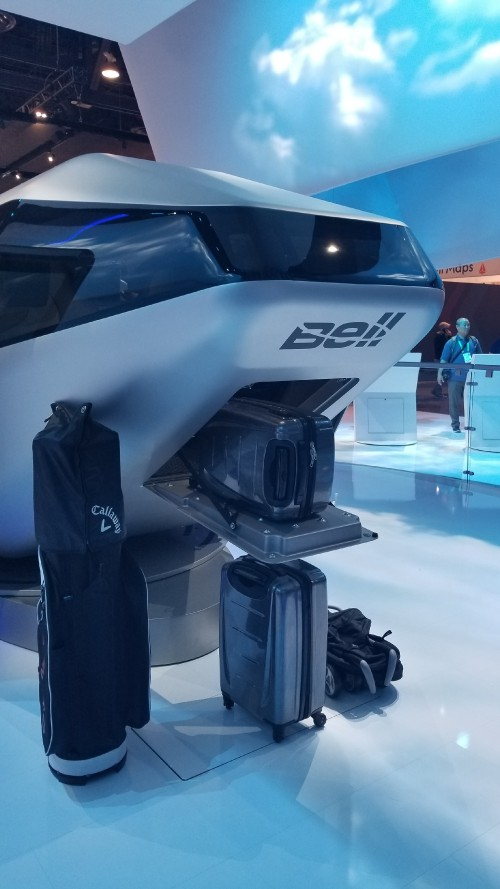 Bell Helicopter Air Taxi cabin mock-up luggage compartment, at the CES2018 Exhibition in Las Vegas, NV, Jan. 11, 2018. AHS photo.