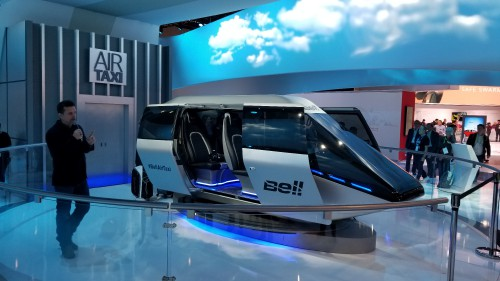 Bell Helicopter Air Taxi cabin mock-up on display at the CES2018 Exhibition in Las Vegas, NV, Jan. 12, 2018. AHS photo.