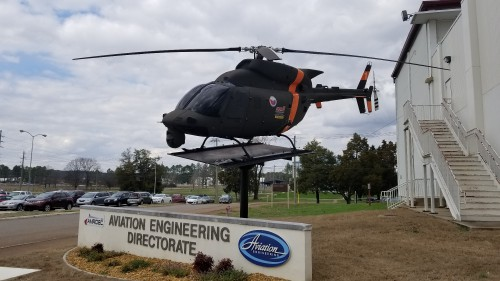 The canceled OH-58F prototype stands as a gate guardian outside the offices of the US Army Aviation Engineering Development Directorate on Redstone Arsenal.AHS photo taken at Redstone Arsenal, Huntsville, Alabama, Feb. 20, 2018.