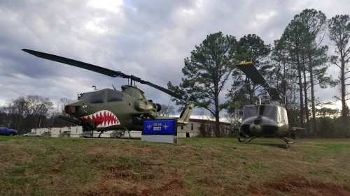 AH-1F Cobra and UH-1M outside the US Army Program Executive Office (PEO) for Aviation. AHS photo taken at Redstone Arsenal, Huntsville, Alabama, Feb. 20, 2018.