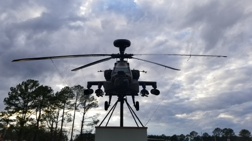 AH-64 Apache serving as the gate guardian for the US Army Program Executive Office (PEO) for Aviation. AHS photo taken at Redstone Arsenal, Huntsville, Alabama, Feb. 20, 2018.