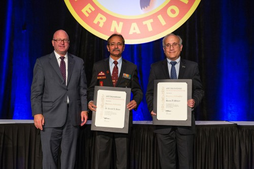 Winners of AHS Honorary Fellow Award at Forum 72 Awards, 2016- COL Dr. Arvind Sinha (center) and Steven Weiner (right) with Mick Maurer (left).  Forum 72, May 16-19, 2016 West Palm Beach, Florida USA