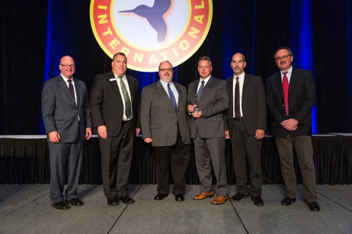 Mick Maurer and Forum 72 Awards, 2016- Jensen Award winners  Jim Munda(S-92 Chief Engineer), John Gendreau, Bert Howard, Dave Buyak and Paul Inguanti