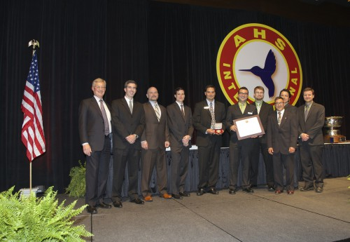 Winners of Grover E. Bell Award at Forum 71 Awards, 2015 - Members of the Mounted Vibration Suppressor Design and Test Team, comprised of the US Army Aviation applied Technology Directorate (AATD), LORD Corporation, and Sikorsky Aircraft with Ed Birtwell.