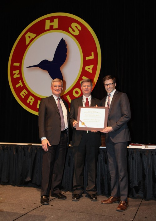 Robert L. Pinckney Award at Forum 71 Awards, 2015 - accepted by Tom Cartensen, Sikorsky Aircraft and Clint Church, Aurora Flight Sciences representing the winner S-97 Raider Helicopter Fuselage Development Team, from Ed Birtwell (left).