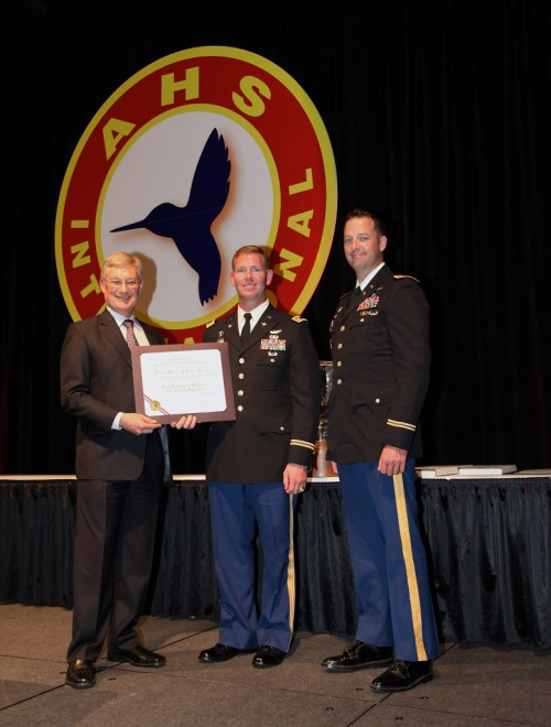 One of the winners of Captain William J. Kossler USCG Award at Forum 71 Awards, 2015 - US Army 2nd Battalion 501st Aviation Regiment : accepted by LTC Whitney B. Gardner and CW4 Brandon S. Tipton, with Ed Birtwell (left).