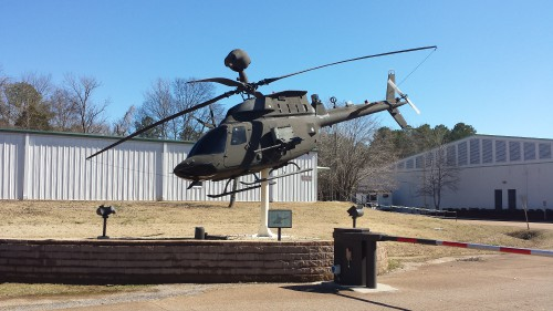 OH-58D Kiowa Apache serving as the gate guardian for the US Army Program Executive Office (PEO) for Aviation. AHS photo taken at Redstone Arsenal, Huntsville, Alabama, Feb. 21, 2014.