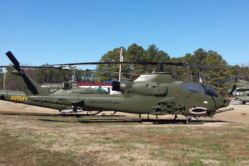 AH-1F Cobra outside the US Army Program Executive Office (PEO) for Aviation. AHS photo taken at Redstone Arsenal, Huntsville, Alabama, Feb. 21, 2014 - Photo by Mike Hirschberg for AHS International (image cropped from original)