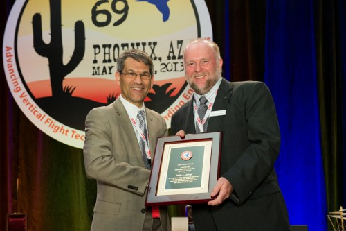 Winner of AHS Individual Member Sponsor at Forum 69 Awards, 2013 - Philip Alldridge, Sikorsky Aircraft Corporation with Mike Hirschberg.